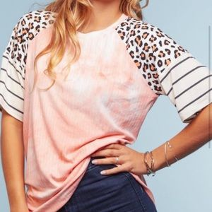 3x super soft boutique shirt with cheetah sleeves
